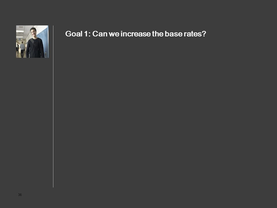 36 Goal 1: Can we increase the base rates?