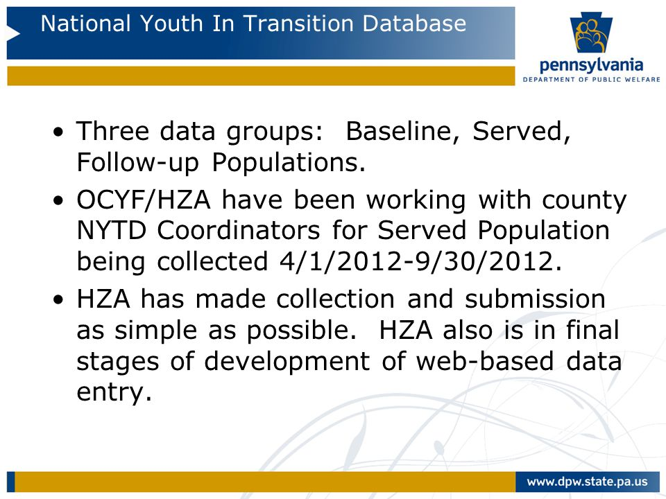 National Youth In Transition Database Three data groups: Baseline, Served, Follow-up Populations. OCYF/HZA have been working with county NYTD Coordina