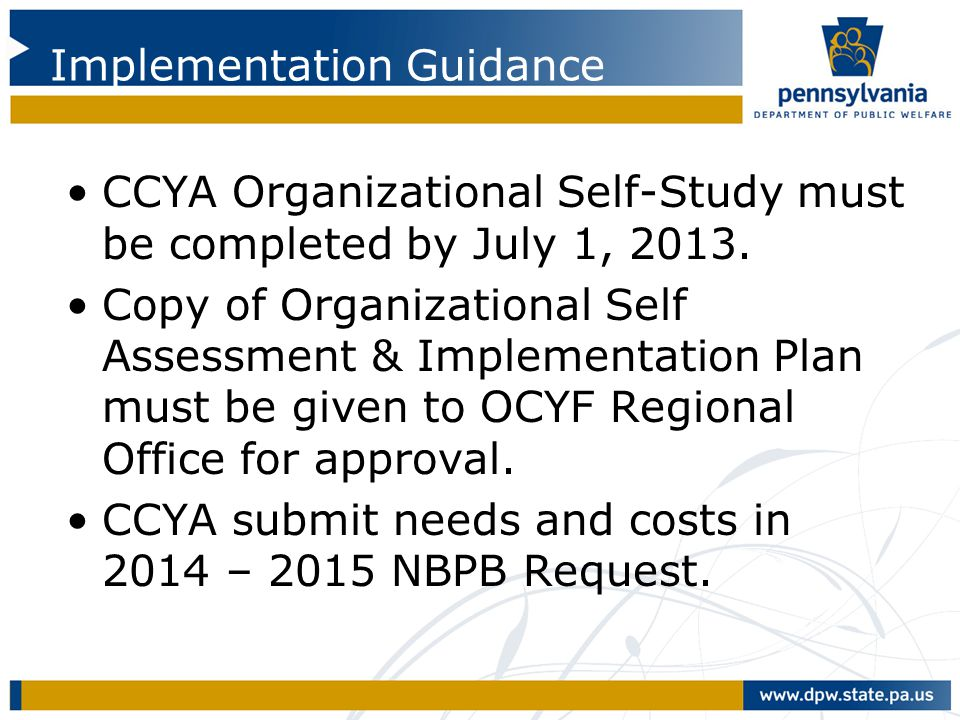 Implementation Guidance CCYA Organizational Self-Study must be completed by July 1, 2013. Copy of Organizational Self Assessment & Implementation Plan