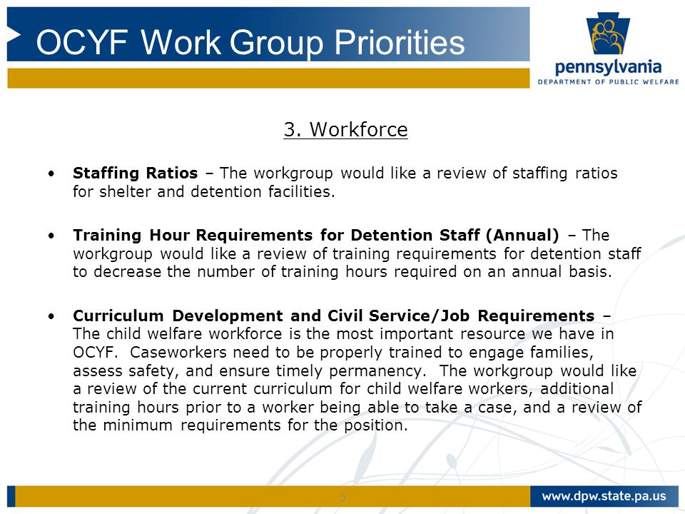 5 3. Workforce Staffing Ratios – The workgroup would like a review of staffing ratios for shelter and detention facilities. Training Hour Requirements