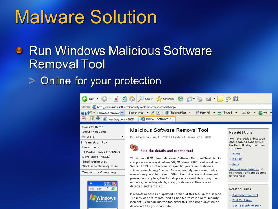 Malware Solution Run Windows Malicious Software Removal Tool Online for your protection
