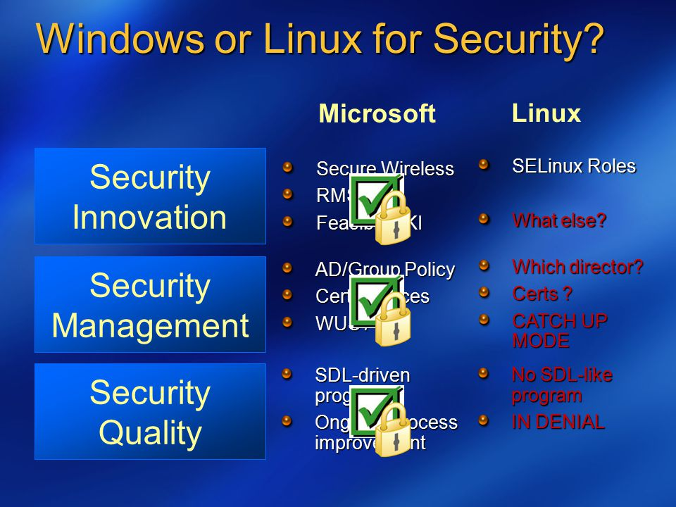 Windows or Linux for Security.