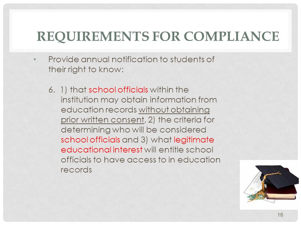 REQUIREMENTS FOR COMPLIANCE Provide annual notification to students of their right to: 7.Know which information the institution has designated as public or directory information.