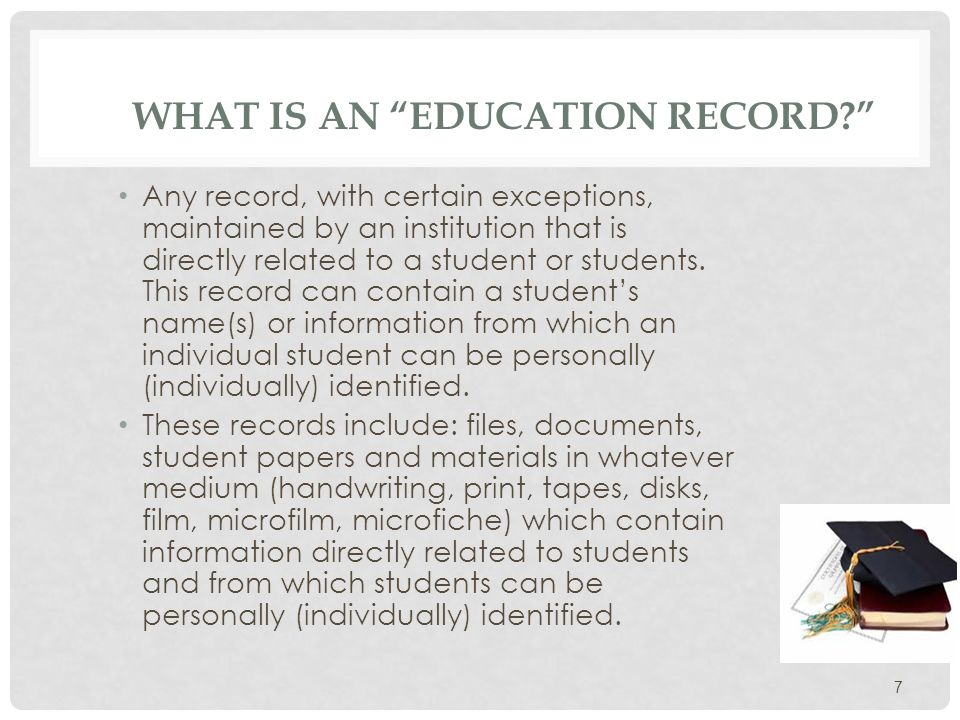PERSONALLY IDENTIFIABLE Personally Identifiable means data or information which includes: 1.The name of the student, the student's parent, or other family members; 2.The student's campus or home address; 3.A personal identifier (such as a social security number or student number); 4.A list of personal characteristics or other information which would make the student's identity known with reasonable certainty. 8