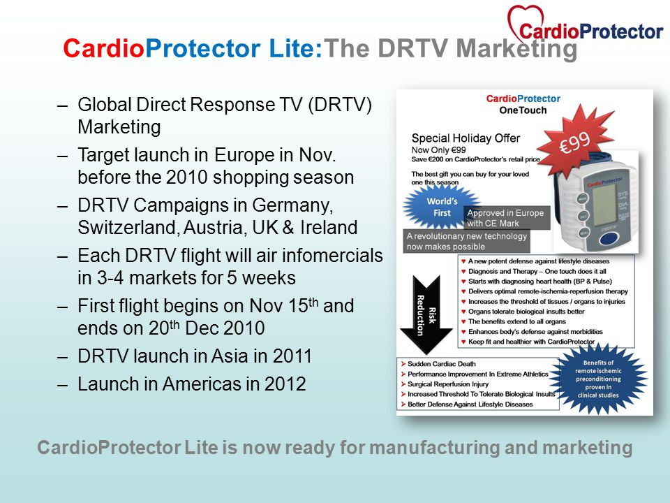 –Global Direct Response TV (DRTV) Marketing –Target launch in Europe in Nov.