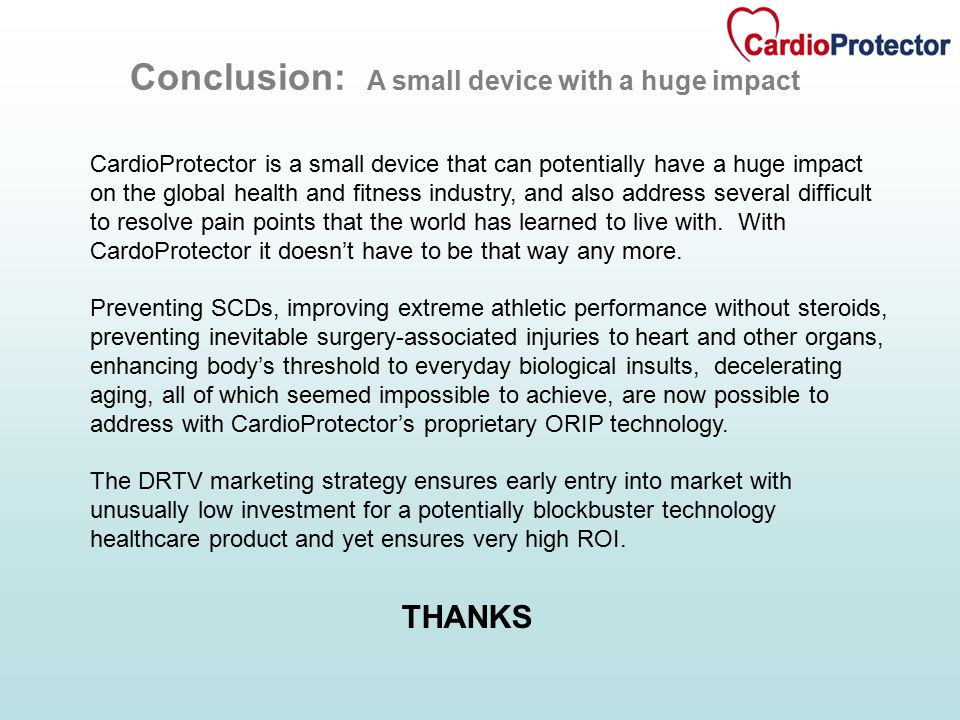 CardioProtector is a small device that can potentially have a huge impact on the global health and fitness industry, and also address several difficult to resolve pain points that the world has learned to live with.