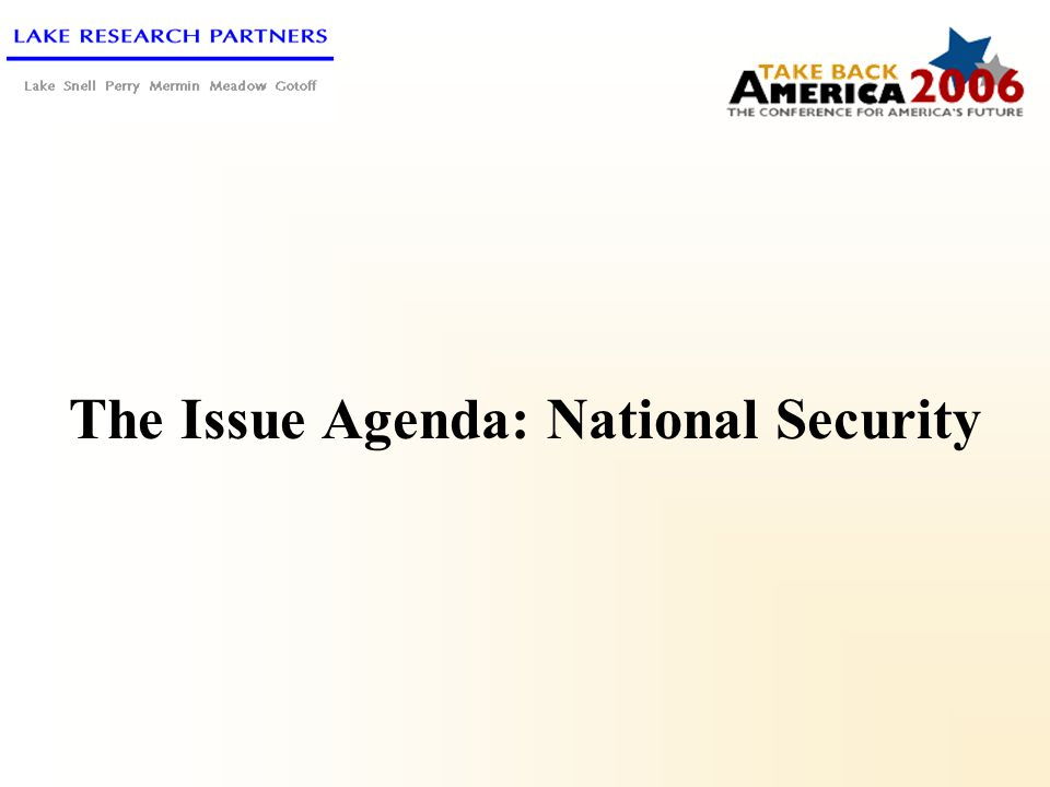The Issue Agenda: National Security