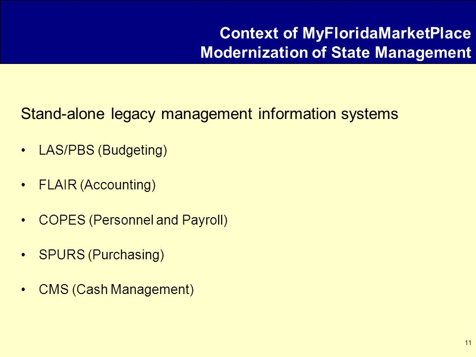 11 Context of MyFloridaMarketPlace Modernization of State Management Stand-alone legacy management information systems LAS/PBS (Budgeting) FLAIR (Accounting) COPES (Personnel and Payroll) SPURS (Purchasing) CMS (Cash Management)