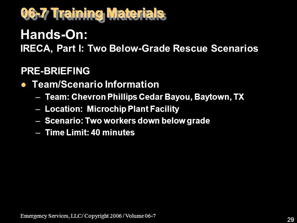 Emergency Services, LLC/ Copyright 2006 / Volume 06-7 29 PRE-BRIEFING Team/Scenario Information –Team: Chevron Phillips Cedar Bayou, Baytown, TX –Loca
