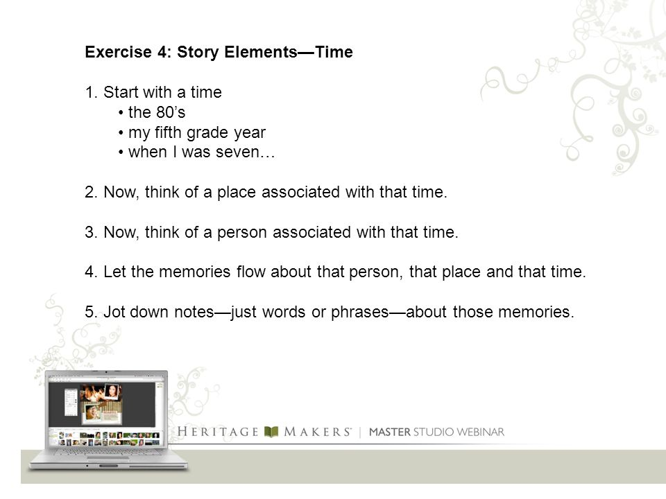 Exercise 4: Story Elements—Time 1.