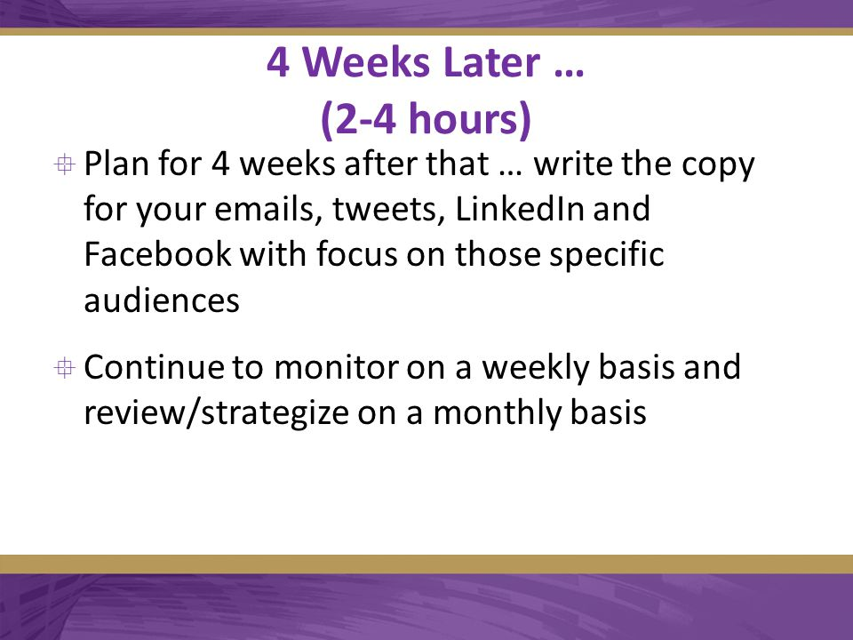 4 Weeks Later … (2-4 hours)  Plan for 4 weeks after that … write the copy for your emails, tweets, LinkedIn and Facebook with focus on those specific audiences  Continue to monitor on a weekly basis and review/strategize on a monthly basis