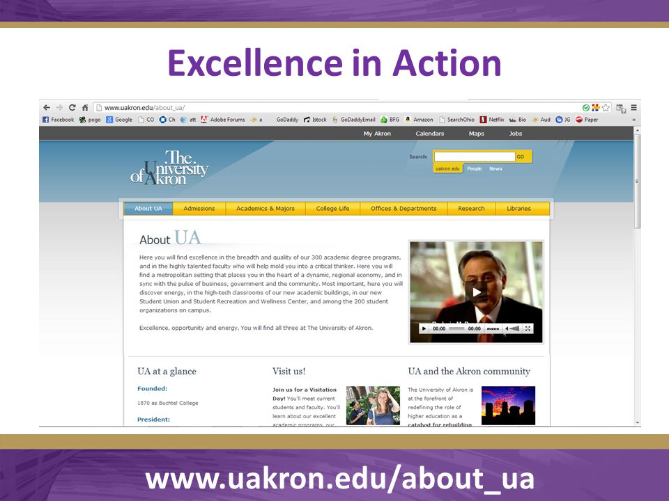 Excellence in Action  www.uakron.edu/about_ua www.uakron.edu/about_ua