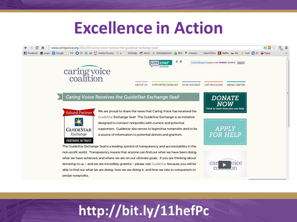 Excellence in Action  http://bit.ly/11hefPc