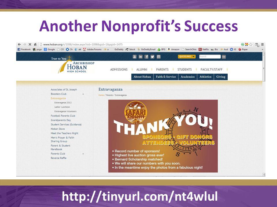 Another Nonprofit's Success  http://tinyurl.com/nt4wlul