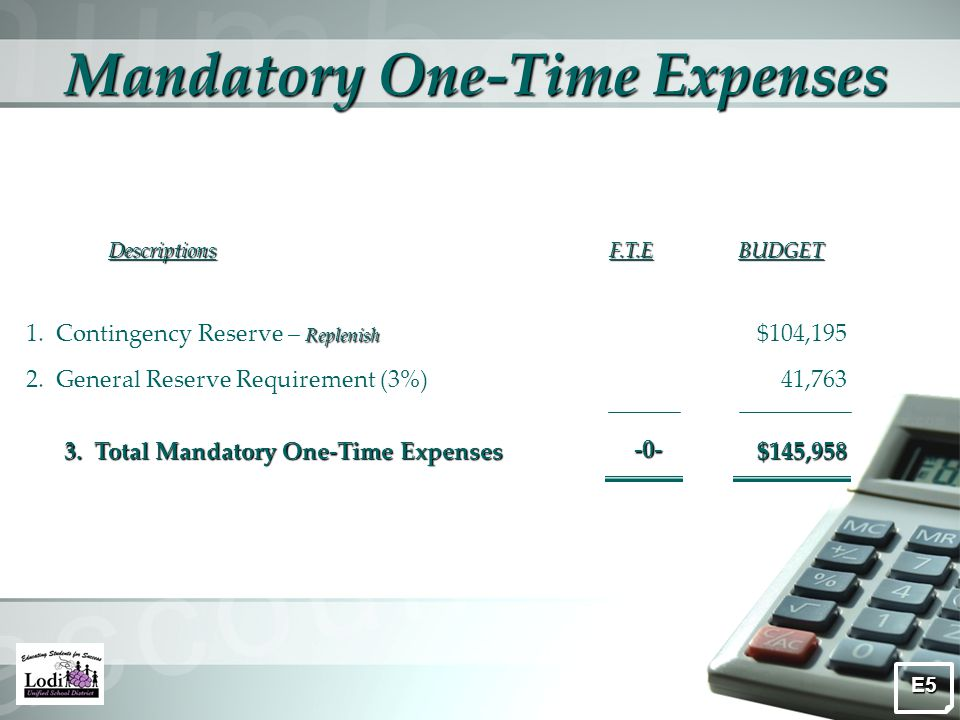 Mandatory One-Time Expenses DescriptionsF.T.EBUDGET Replenish 1.
