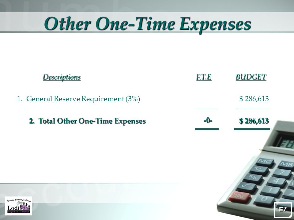 Other One-Time Expenses DescriptionsF.T.EBUDGET 2.