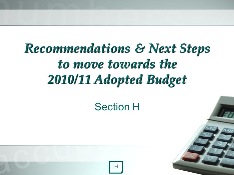 Recommendations & Next Steps to move towards the 2010/11 Adopted Budget Section H H
