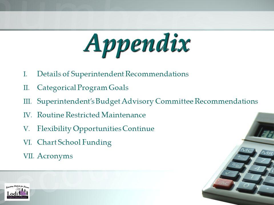 Appendix I. Details of Superintendent Recommendations II.