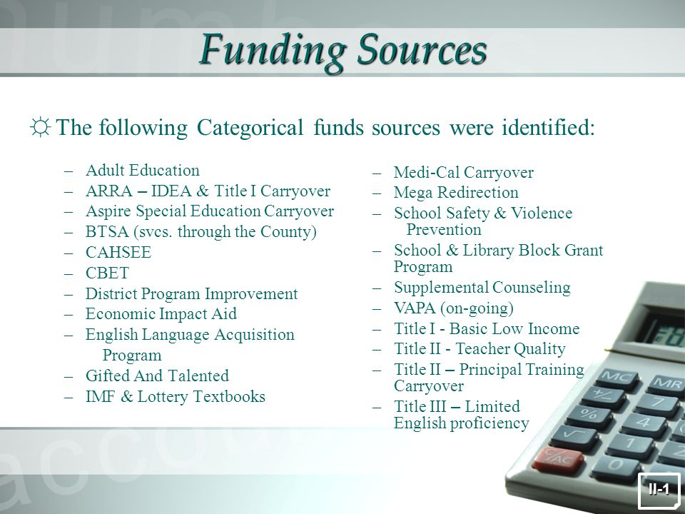 Funding Sources ☼ The following Categorical funds sources were identified: –Adult Education –ARRA – IDEA & Title I Carryover –Aspire Special Education Carryover –BTSA (svcs.