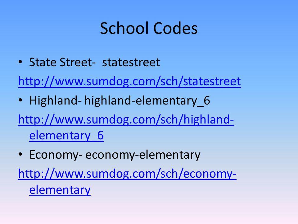 School Codes State Street- statestreet http://www.sumdog.com/sch/statestreet Highland- highland-elementary_6 http://www.sumdog.com/sch/highland- eleme