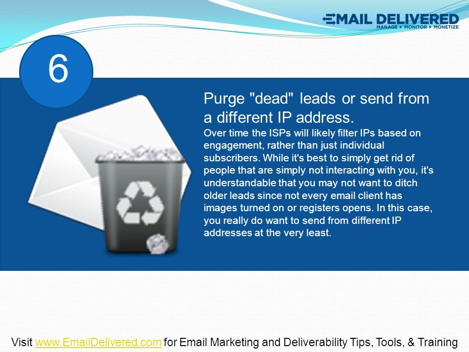 Purge dead leads or send from a different IP address.