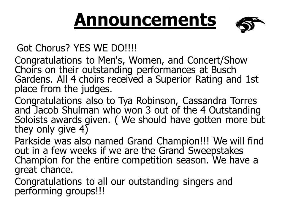 Announcements Got Chorus. YES WE DO!!!.