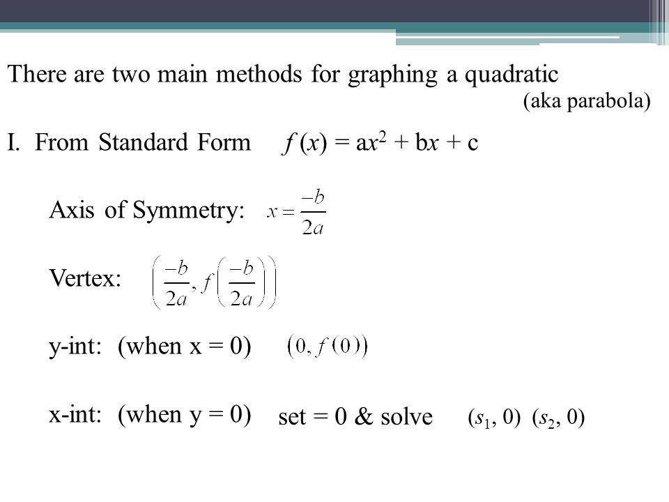 There are two main methods for graphing a quadratic I. From Standard Form f (x) = ax 2 + bx + c Axis of Symmetry: Vertex: y-int: (when x = 0) x-int: (