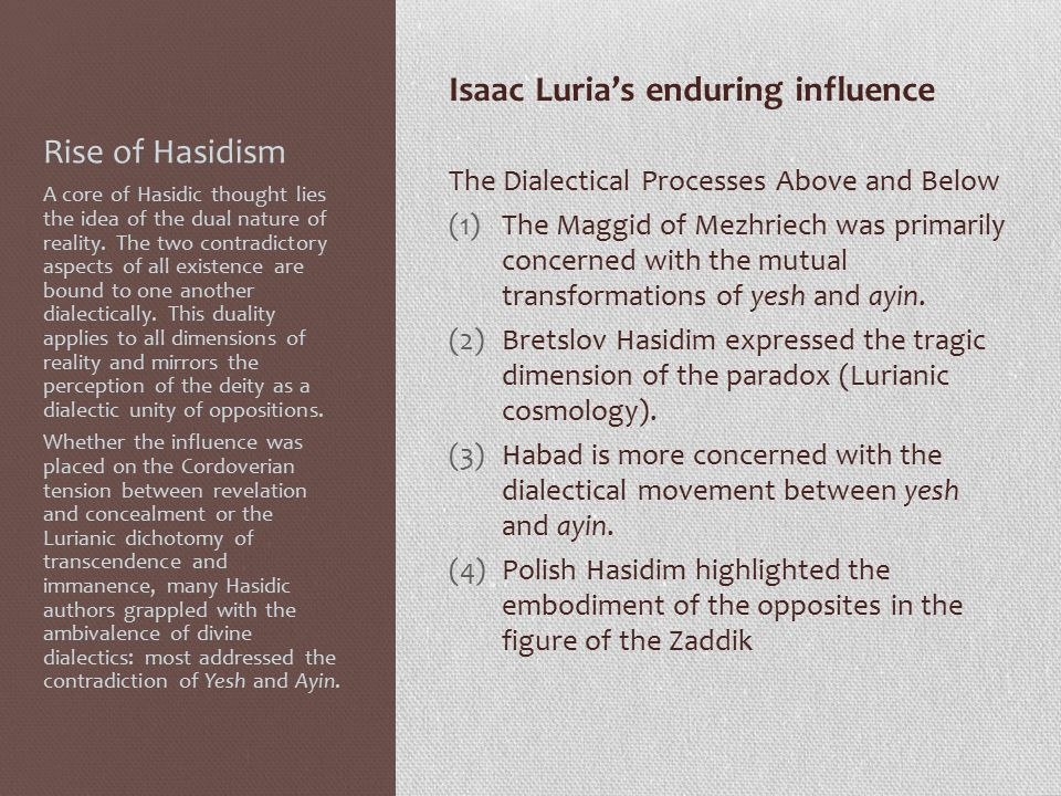 Rise of Hasidism Isaac Luria's enduring influence The Dialectical Processes Above and Below (1)The Maggid of Mezhriech was primarily concerned with the mutual transformations of yesh and ayin.