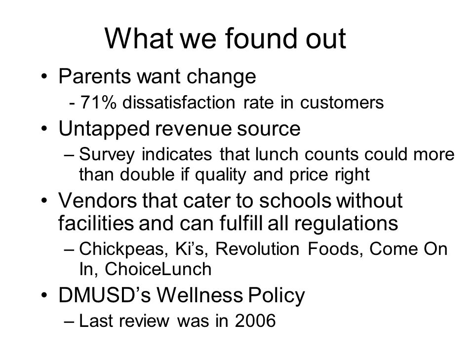 Wellness Policy Last review of Wellness Policy in 2006 Meeting with Cara Schukoske, Director of Pupil Services in April Nutrition education exists in some of the schools - can share knowledge Lunch Committee will coordinate with PTAs to implement enhanced nutrition education in conjunction with an improved lunch program in 2011- 2012 –Ideas include monthly nutrition newsletters, assemblies at National Nutrition Month, garden and cooking programs