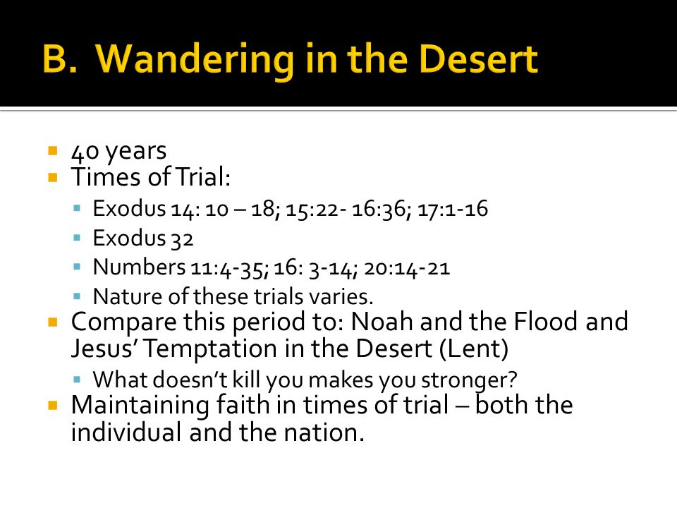  40 years  Times of Trial:  Exodus 14: 10 – 18; 15:22- 16:36; 17:1-16  Exodus 32  Numbers 11:4-35; 16: 3-14; 20:14-21  Nature of these trials varies.
