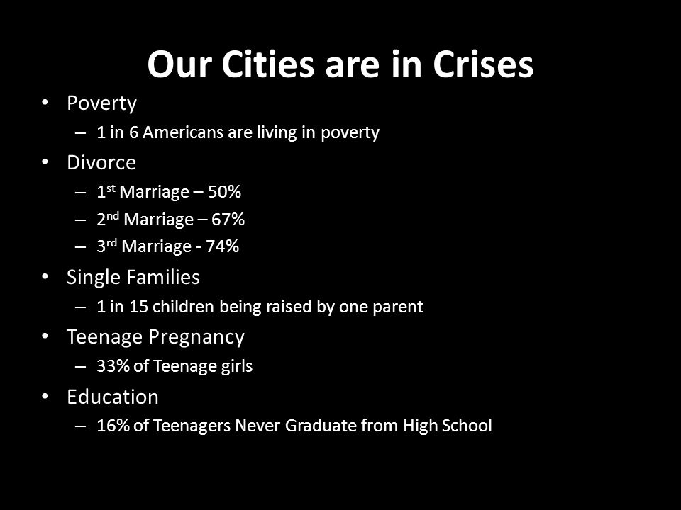Our Cities are in Crises Poverty – 1 in 6 Americans are living in poverty Divorce – 1 st Marriage – 50% – 2 nd Marriage – 67% – 3 rd Marriage - 74% Single Families – 1 in 15 children being raised by one parent Teenage Pregnancy – 33% of Teenage girls Education – 16% of Teenagers Never Graduate from High School