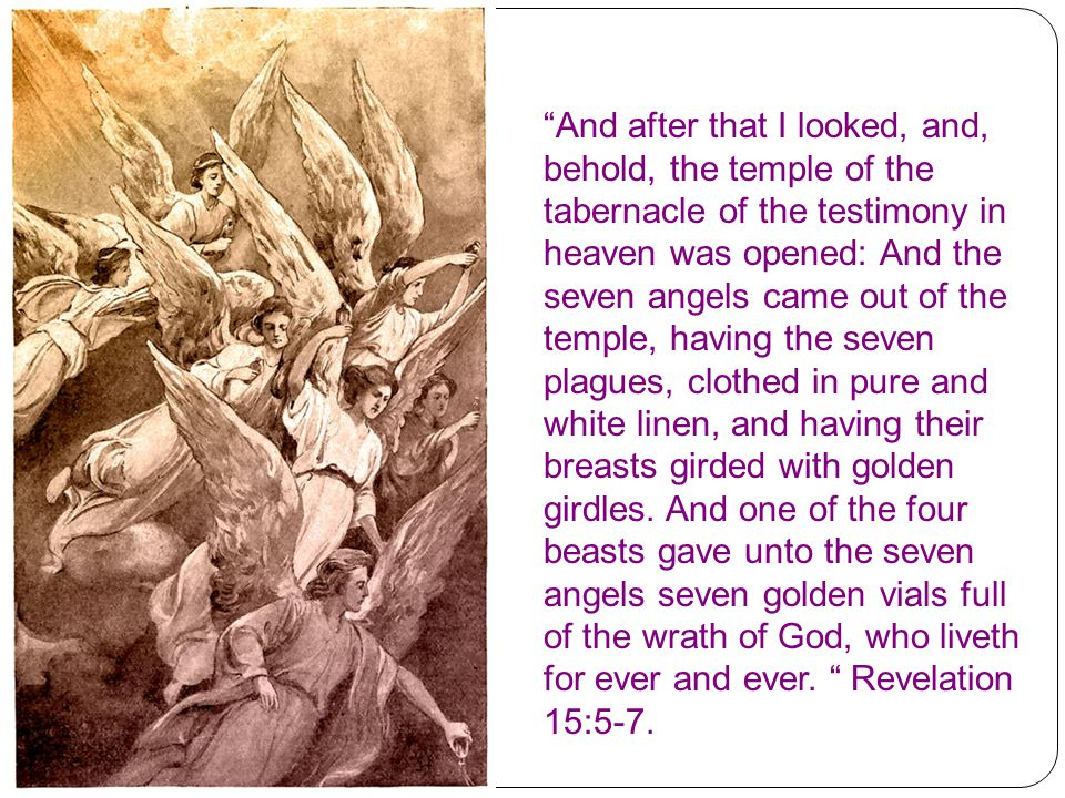 And after that I looked, and, behold, the temple of the tabernacle of the testimony in heaven was opened: And the seven angels came out of the temple, having the seven plagues, clothed in pure and white linen, and having their breasts girded with golden girdles.