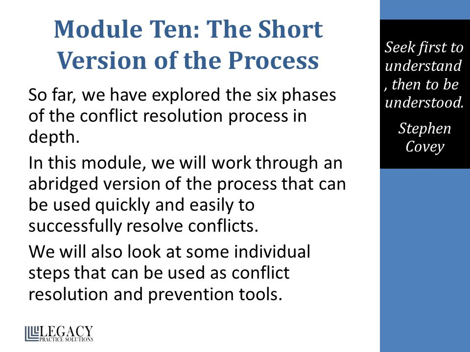Module Ten: The Short Version of the Process So far, we have explored the six phases of the conflict resolution process in depth.