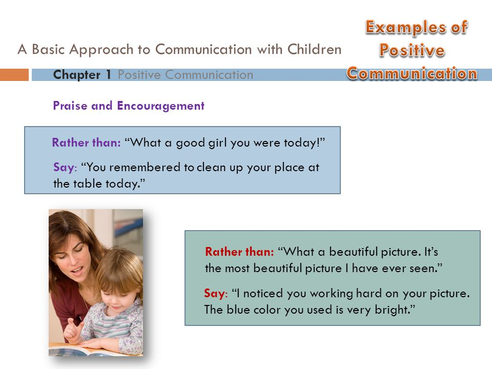"Praise and Encouragement Chapter 1 Positive Communication A Basic Approach to Communication with Children Rather than: ""What a good girl you were toda"