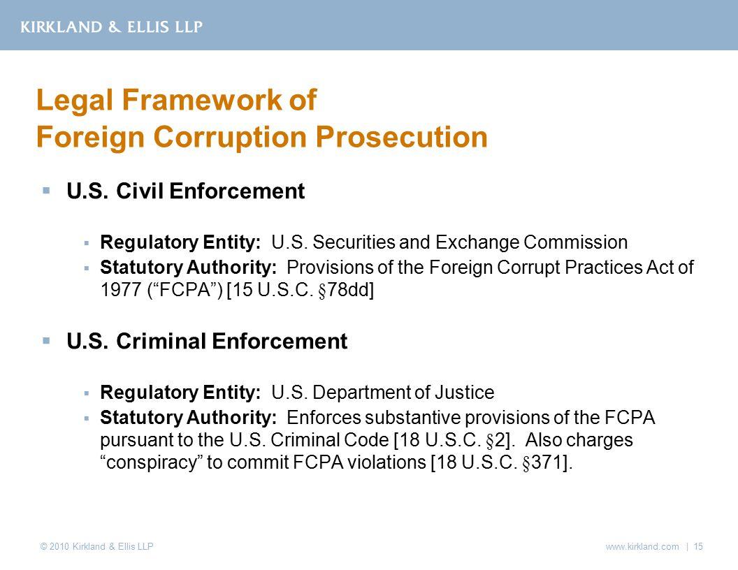 © 2010 Kirkland & Ellis LLP  U.S. Civil Enforcement  Regulatory Entity: U.S.
