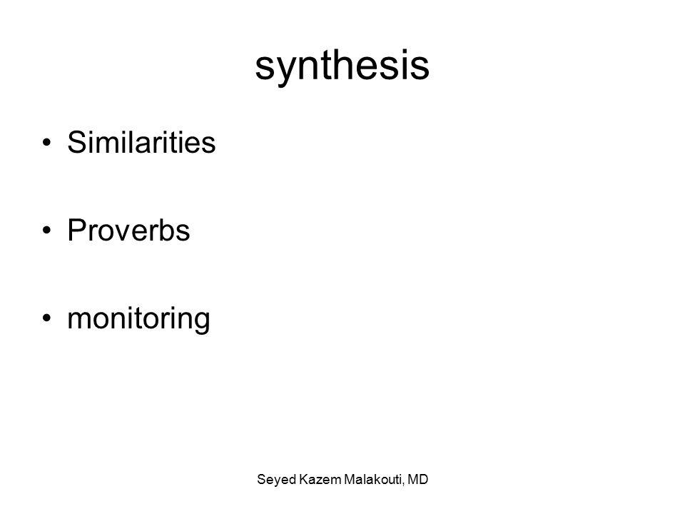 synthesis Similarities Proverbs monitoring Seyed Kazem Malakouti, MD