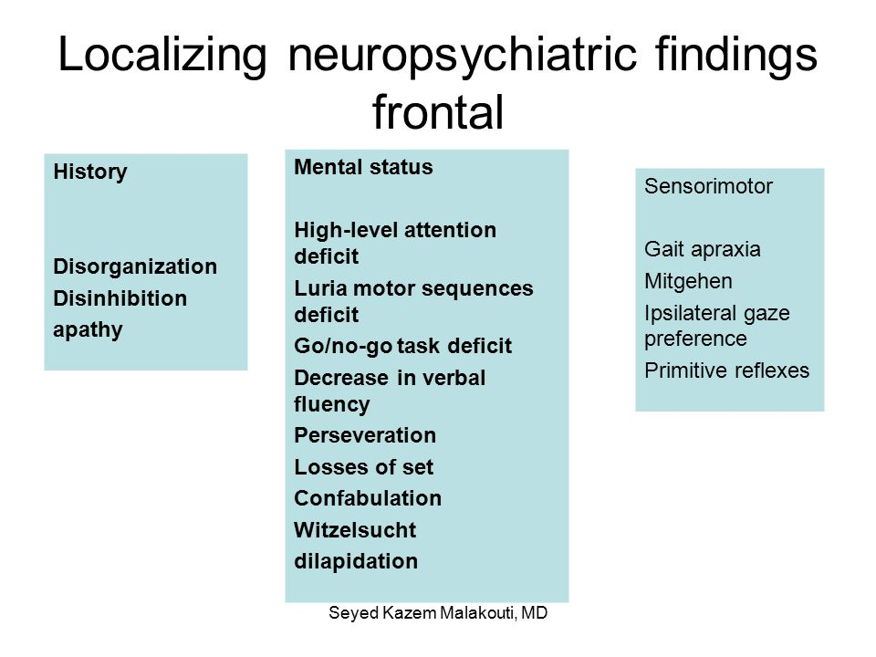 Localizing neuropsychiatric findings frontal History Disorganization Disinhibition apathy Mental status High-level attention deficit Luria motor sequences deficit Go/no-go task deficit Decrease in verbal fluency Perseveration Losses of set Confabulation Witzelsucht dilapidation Sensorimotor Gait apraxia Mitgehen Ipsilateral gaze preference Primitive reflexes Seyed Kazem Malakouti, MD