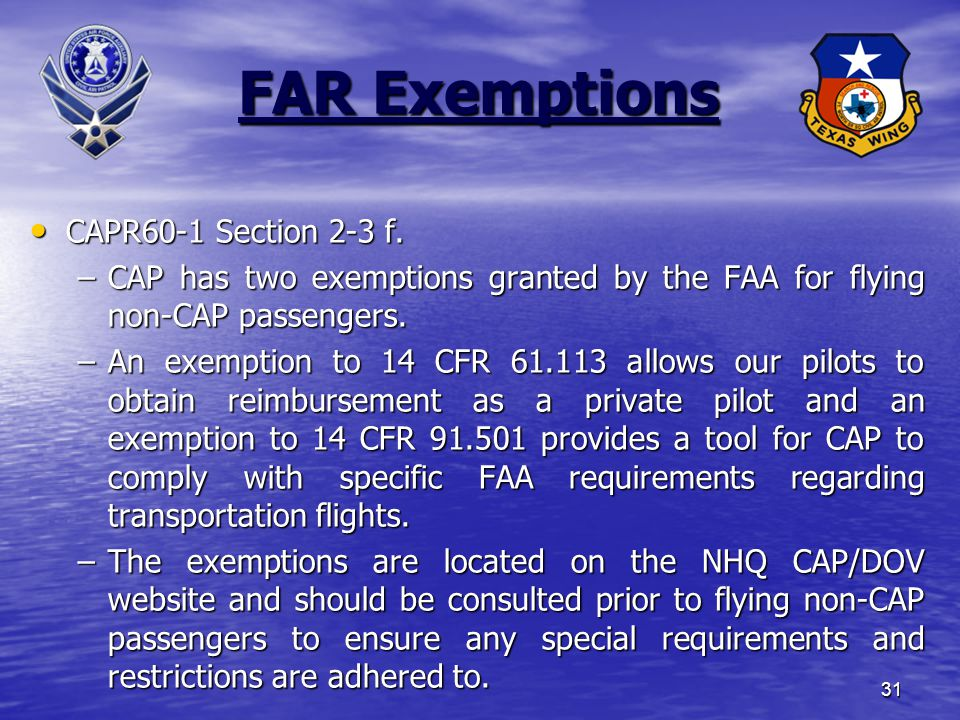 31 FAR Exemptions CAPR60-1 Section 2-3 f.CAPR60-1 Section 2-3 f.