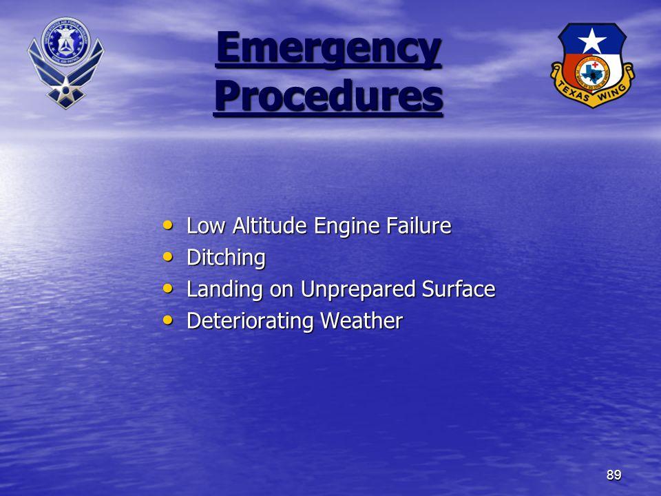 89 Emergency Procedures Low Altitude Engine Failure Low Altitude Engine Failure Ditching Ditching Landing on Unprepared Surface Landing on Unprepared Surface Deteriorating Weather Deteriorating Weather