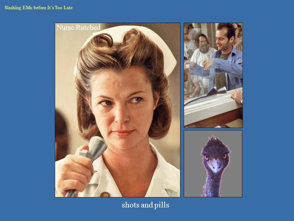 Slashing EMu before It's Too Late Nurse Ratched shots and pills