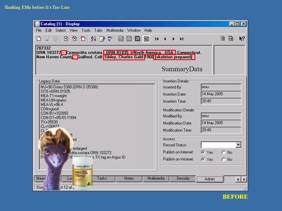 catalogue – round 2 data rec seg BEFORE Slashing EMu before It's Too Late SummaryData