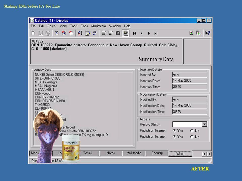 catalogue – round 2 data rec seg AFTER Slashing EMu before It's Too Late SummaryData