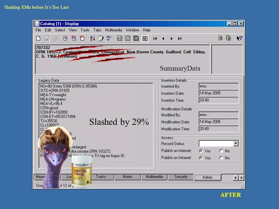 catalogue – round 2 data rec seg AFTER Slashing EMu before It's Too Late Slashed by 29% SummaryData
