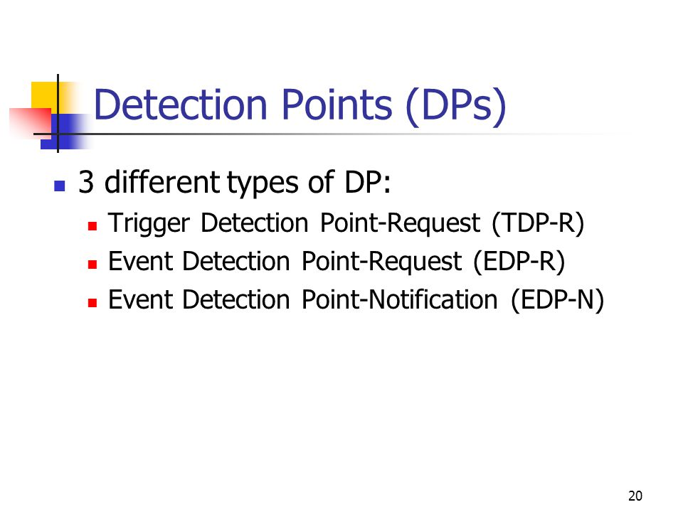 20 Detection Points (DPs) 3 different types of DP: Trigger Detection Point-Request (TDP-R) Event Detection Point-Request (EDP-R) Event Detection Point-Notification (EDP-N)