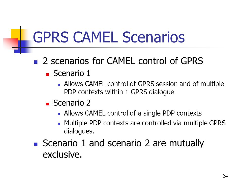 24 GPRS CAMEL Scenarios 2 scenarios for CAMEL control of GPRS Scenario 1 Allows CAMEL control of GPRS session and of multiple PDP contexts within 1 GPRS dialogue Scenario 2 Allows CAMEL control of a single PDP contexts Multiple PDP contexts are controlled via multiple GPRS dialogues.