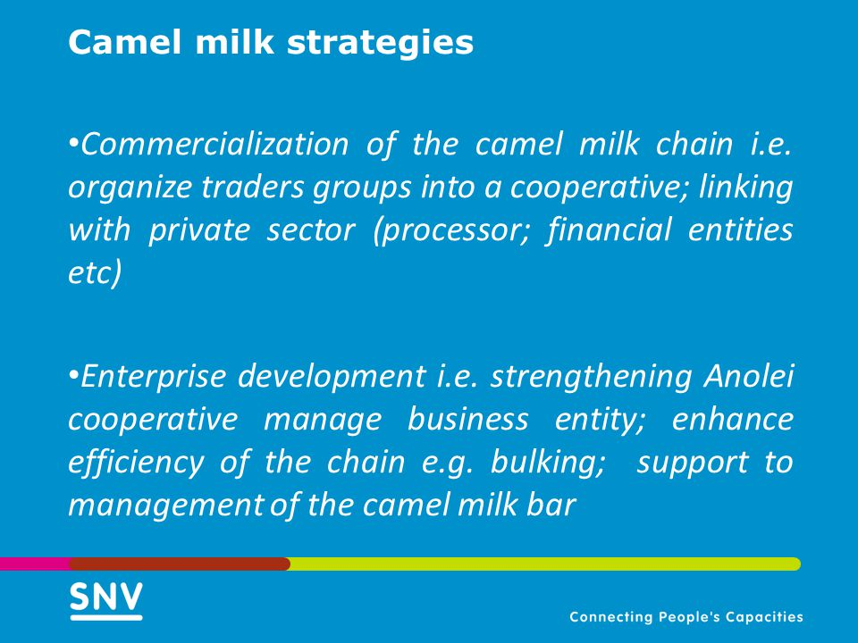 Camel milk strategies Commercialization of the camel milk chain i.e. organize traders groups into a cooperative; linking with private sector (processo