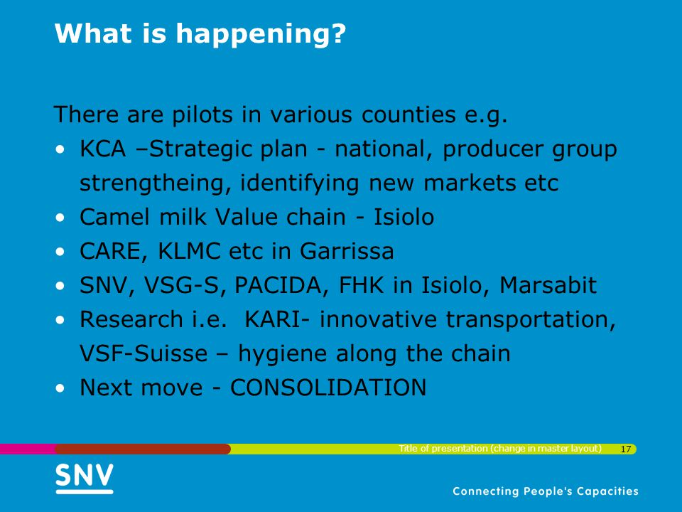 What is happening? There are pilots in various counties e.g. KCA –Strategic plan - national, producer group strengtheing, identifying new markets etc