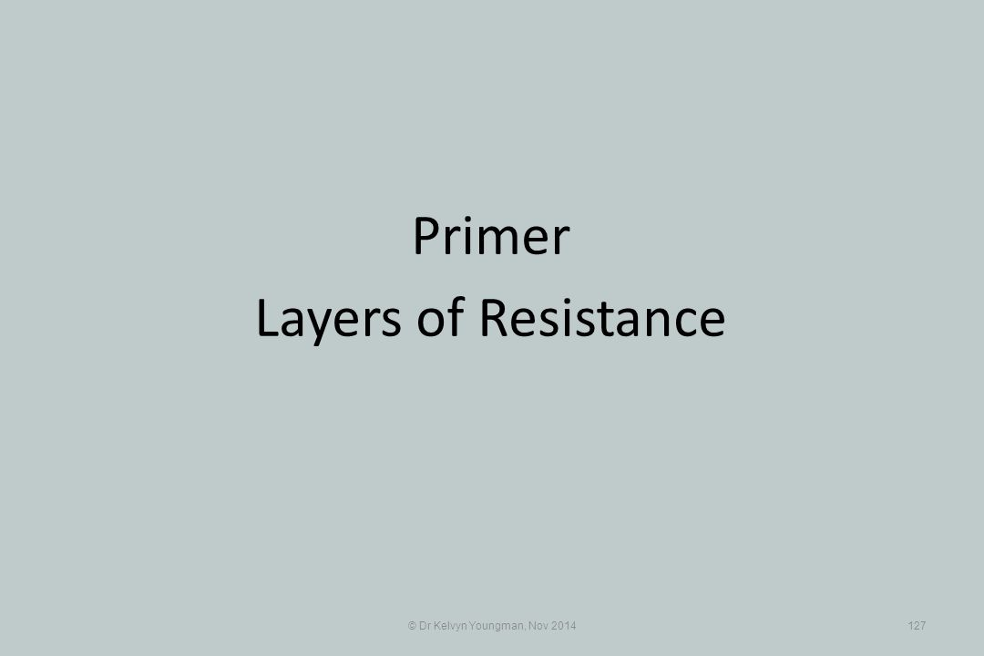© Dr Kelvyn Youngman, Nov 2014127 Primer Layers of Resistance