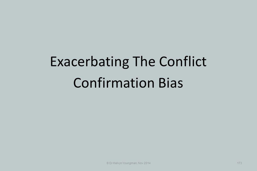© Dr Kelvyn Youngman, Nov 2014173 Exacerbating The Conflict Confirmation Bias