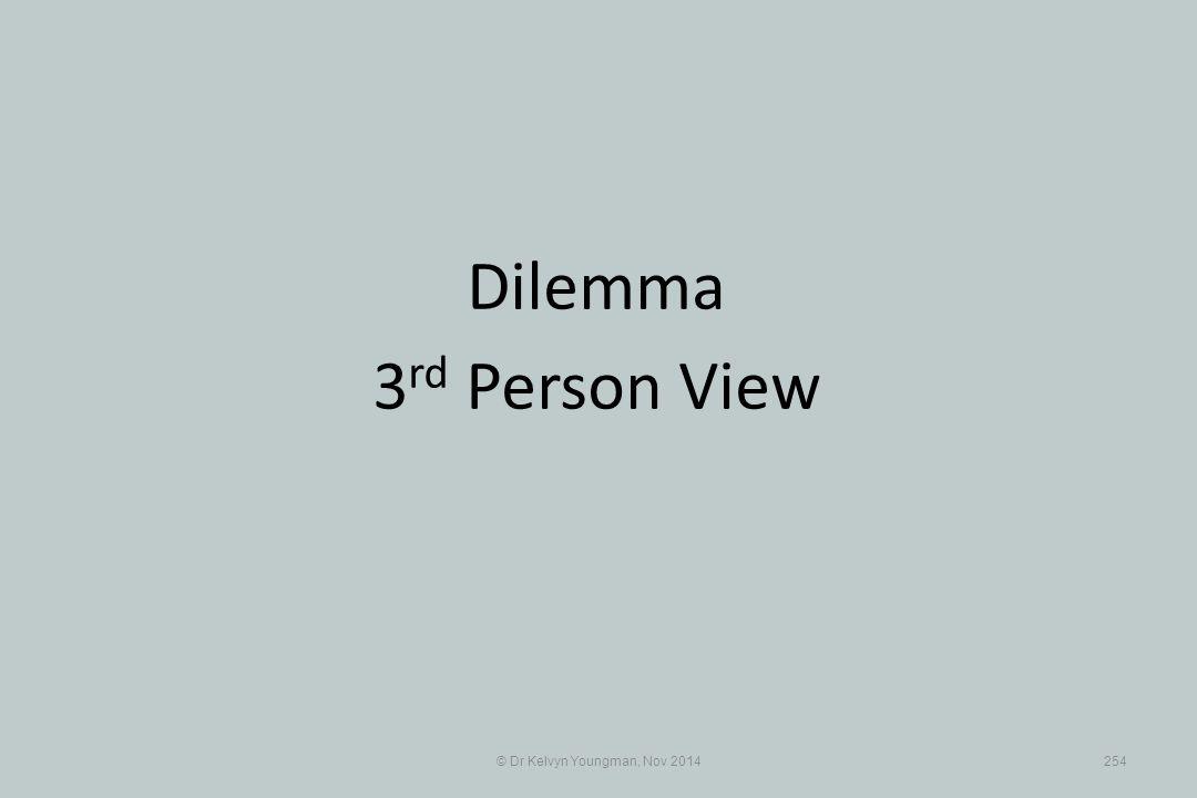 © Dr Kelvyn Youngman, Nov 2014254 Dilemma 3 rd Person View
